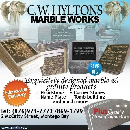 Hearse For Sale >> C.W. Hylton Marble Works Headstones – Jamaican Classifieds